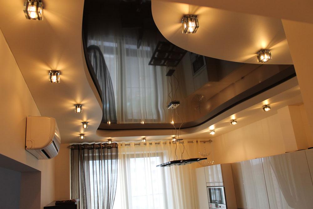 студии дизайн натяжных двухъярусных потолков фото применяются